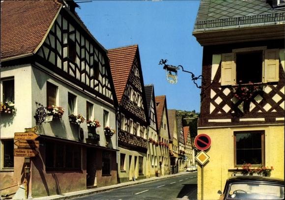 Ak Waischenfeld in der Fränkischen Schweiz Bayern, Fachwerkhäuser, Fassaden, Straßenansicht