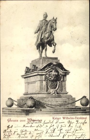 Ak Münster in Westfalen, Kaiser Wilhelm Denkmal, Frontalansicht