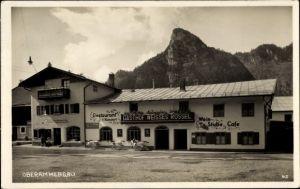 Ak Oberammergau in Oberbayern, Blick auf das Gasthaus Weißes Rössel