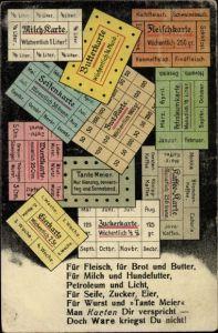 Künstler Ak Rationierungskarten, Doch Ware kriegst du nicht, Kriegsnot, Milchkarte, Butterkarte