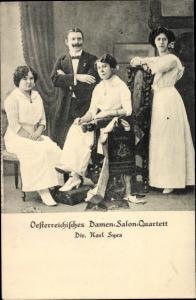 Ak Österreichisches Damen Salon Quartett, Direktion Karl Syes, Sängerinnen