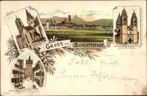 Litho Sélestat Schlettstadt Elsass Bas Rhin, Münster, St. Fiedes Kirche, Neuer Turm