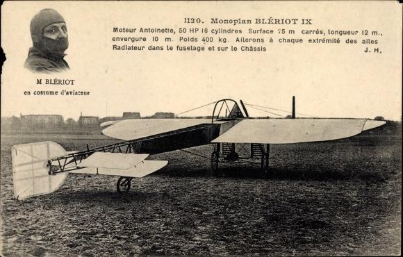 Ak Monoplan Bleriot IX, Moteur Antoinette, M. Bleriot en costume d'aviateur, Flugzeug und Pilot