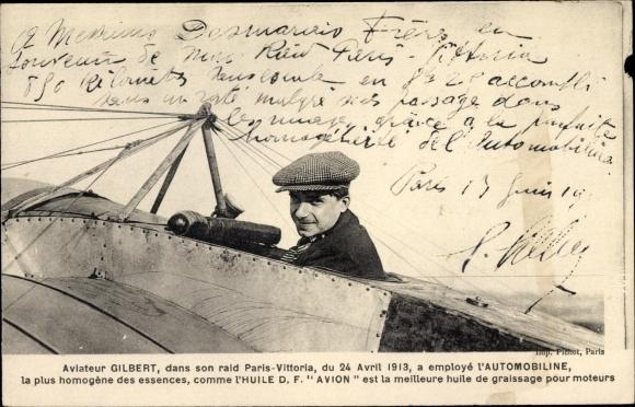 Ak Aviateur Gilbert dans son raid Paris Vittoria 1913, L'Automobiline, Pilot im Flugzeug