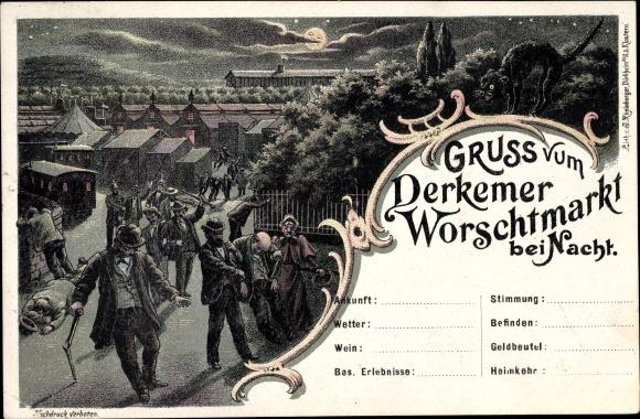 Mondschein Litho Bad Dürkheim am Pfälzerwald, Derkemer Worschtmarkt bei Nacht, Betrunkene
