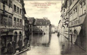 Ak Würzburg am Main Unterfranken, Hochwasser 1909, Café Central, Geschäft J. Kuhn, Lagerhaus