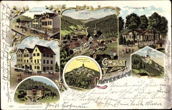 Litho Lauterbach im Schwarzwald, Hauptstraße, Gasthaus zur Sonne, Rabenfelsen, Brauerei Roth