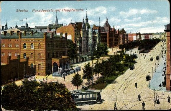 Ak Szczecin Stettin Pommern, Paradeplatz mit Hauptwache, Straßenbahn