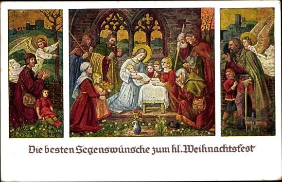 Hirten Bilder Weihnachten.Künstler Ak Schiestl Matthäus Anbetung Der Hirten Frohe Weihnachten