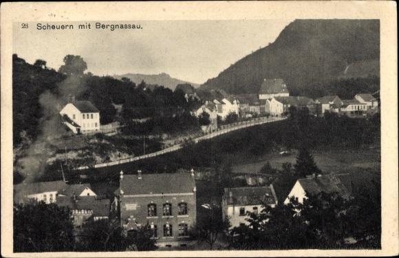 Ak Bergnassau Scheuern Nassau im Rhein Lahn Kreis, Teilansicht vom Ort