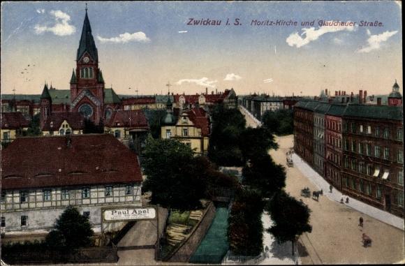 Ak Zwickau in Sachsen, Moritzkirche und Glauchauer Straße, Baumaterialien Paul Apel