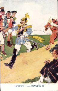 Künstler Ak Kaiser Wilhelm II., Kaiser I, Ananias II, Wettlauf