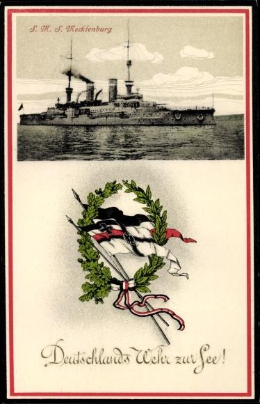 Ak Deutsches Kriegsschiff, SMS Mecklenburg, Kaiserliche Marine, Fahnen