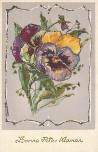 Glitzer Ak Bonne Fêtes Maman, Muttertag, Blumen