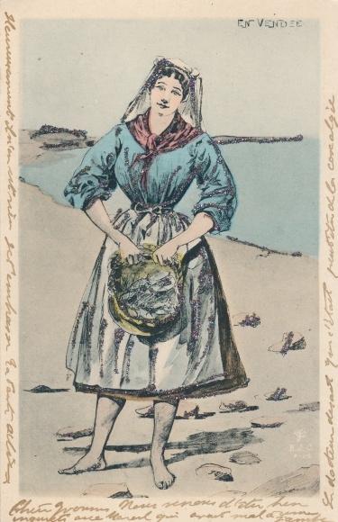 Glitzer Ak Vendée, Muschelsammlerin am Strand, Volkstracht