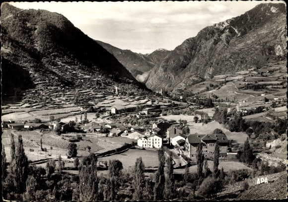Ak Encamp Andorra, Vista general, Al fons Radio Andorra, Hotel, Landschaftsblick