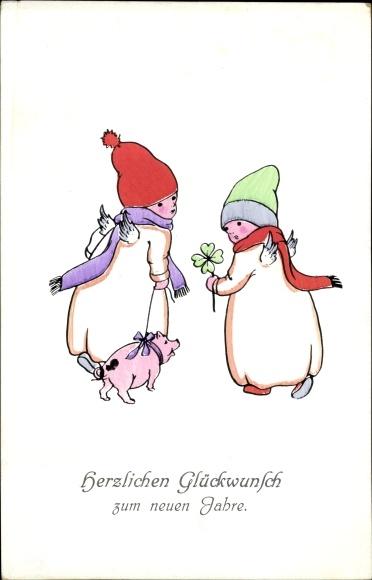 Ak Glückwunsch Neujahr, Engel, Schwein, Kleeblatt, PFB 2133/2