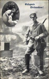 Ak Frohe Weihnachten, Deutscher Soldat in Uniform, Frau, Kind, Weihnachtsbaum