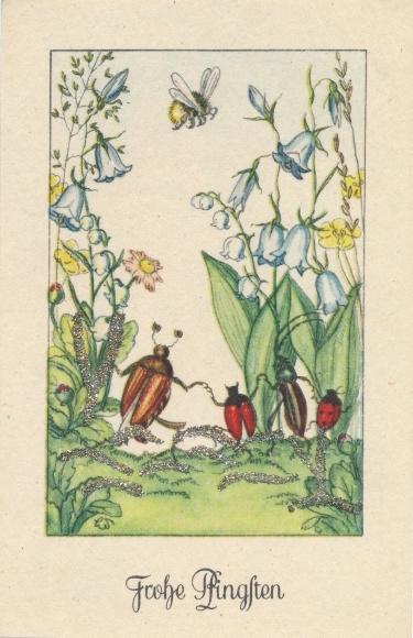 Glitzer Künstler Ak Glückwunsch Pfingsten, Maikäfer, Biene, Blumen