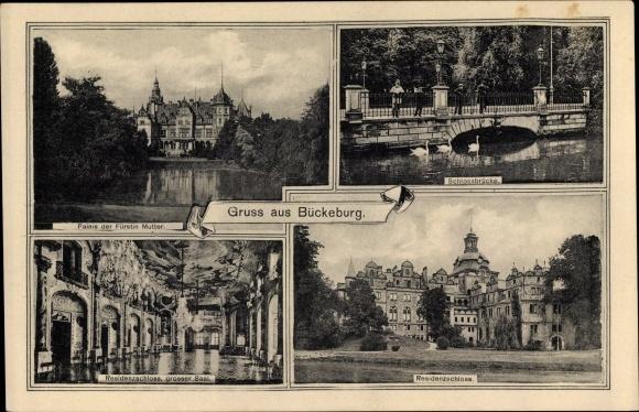 Ak Bückeburg Kreis Schaumburg Niedersachsen, Ansichten, Schlossbrücke, Residenzschloss, Palais