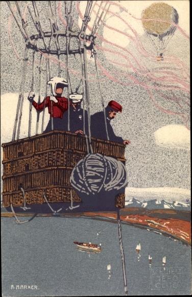 Künstler Ak Marxer, A., Zürich, Fesselballon im Flug, Gordon Bennett Wettfliegen 1909