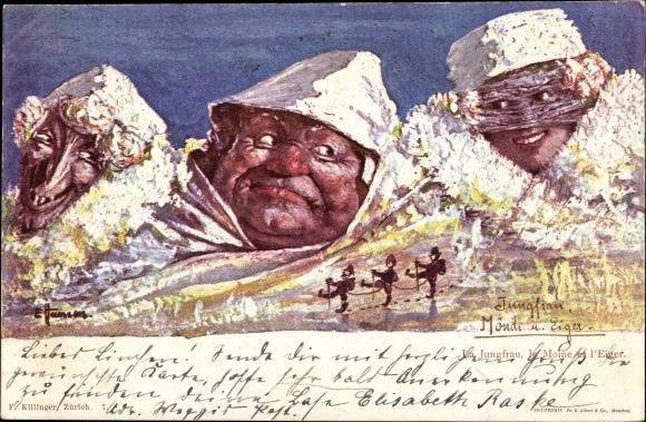 Künstler Ak Hansen, E., Jungfrau, Mönch und Eiger, Berggesichter, Killinger 7