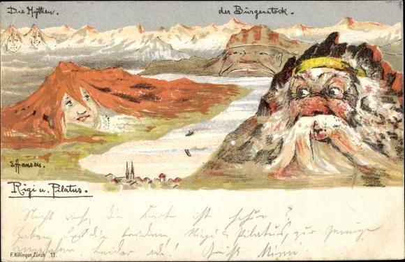 Künstler Litho Hansen, E., Rigi und Pilatus, Der Mythen, Der Bürgenstock, Killinger 11,Berggesichter