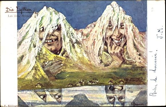 Künstler Ak Hansen, E., Die Mythen, Berggesichter, Les deux Mythen, Killinger 8
