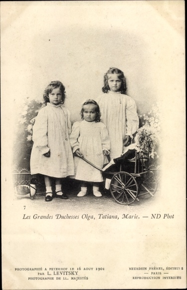 Ak Les Grandes Duchesses Olga, Tatiana, Marie, Töchter des russischen Zaren Nikolaus II.