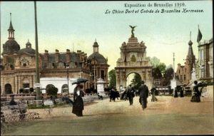 Ak Bruxelles Brüssel, Le Chien Vert et Entree de Bruxelles Kermesse, Exposition 1910