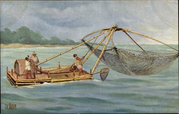 Künstler Ak Rave, Chr., Marine Galerie 94, Philippinisches Fischerboot, Jetztzeit