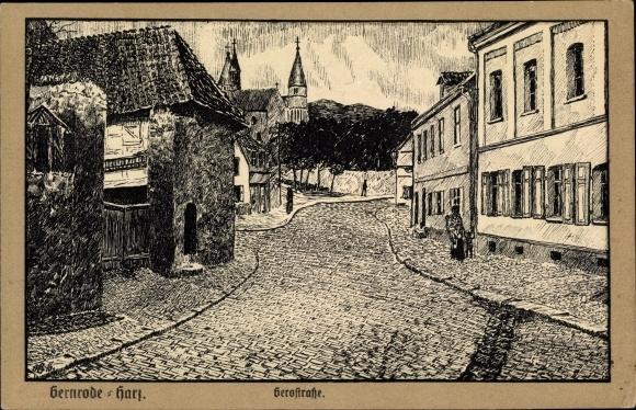Künstler Ak Gernrode Quedlinburg im Harz, Blick in die Gerostraße