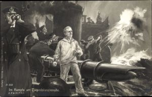Künstler Ak Im Kampfe am Torpedolanzierrohr, Seeleute auf einem Deutschen Kriegsschiff