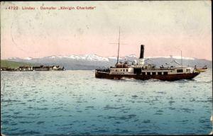 Ak Lindau Dampfer Königin Charlotte, Salondampfer auf dem Bodensee