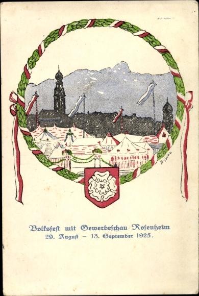 Künstler Ak Rosenheim im Alpenvorland Oberbayern, Volksfest mit Gewerbeschau 1925