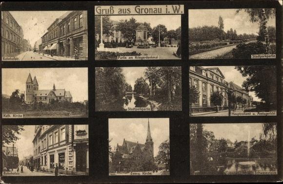 Ak Gronau in Westfalen, Kirche, Bahnhofstraße, Kriegerdenkmal, Amtsgericht, Zollamt, Stadtpark