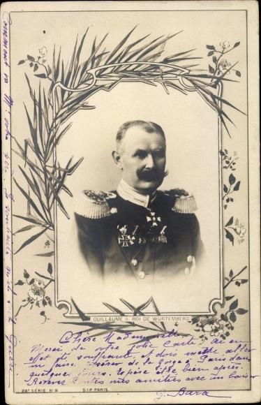 Ak Wilhelm II, König von Württemberg, Portrait in Uniform