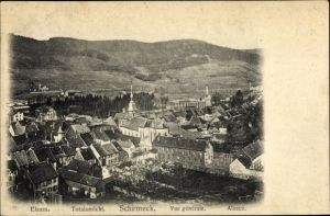 Ak Schirmeck Elsass Bas Rhin, Vue générale, Kirche, Panoramaansicht von Ortschaft