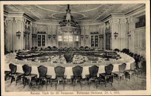 Ak Essen im Ruhrgebiet, Kaiserhof, Runder Tisch für 60 Personen, Roheisen Verband, 24.01.1913