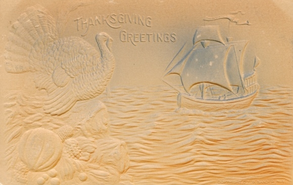 Präge Ak USA, Thanksgiving Greetings, Truthahn, Kürbis, Segelschiff