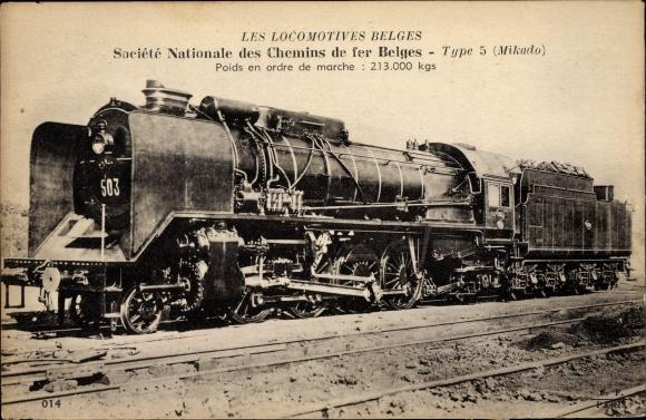 Ak Les Locomotives Belges, Société Nationale des Chemins de fer Belges, belgische Dampflok, Mikado