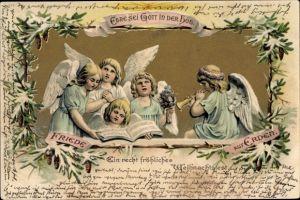 Litho Glückwunsch Weihnachten, Blonde Engel mit Notenbuch und Trompete, Friede auf Erden