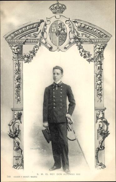 Wappen Ak S. M. El Rey Don Alfonso XIII, König Alfons von Spanien in Uniform