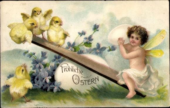 Präge Litho Glückwunsch Ostern, Engel mit Ei und Küken auf einer Wippe, Veilchenblüten