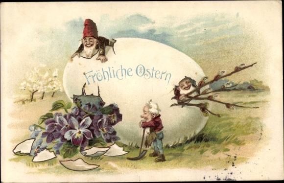 Präge Litho Glückwunsch Ostern, Zwerge schlüpfen aus einem Osterei, Spitzhacke, Veilchenblüten