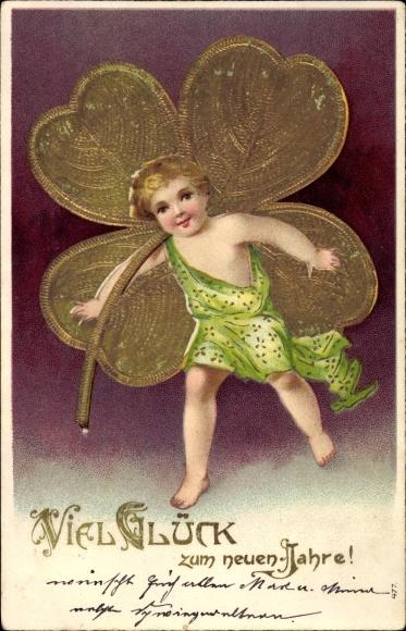 Präge Litho Glückwunsch Neujahr, Junge mit goldenem Kleeblatt