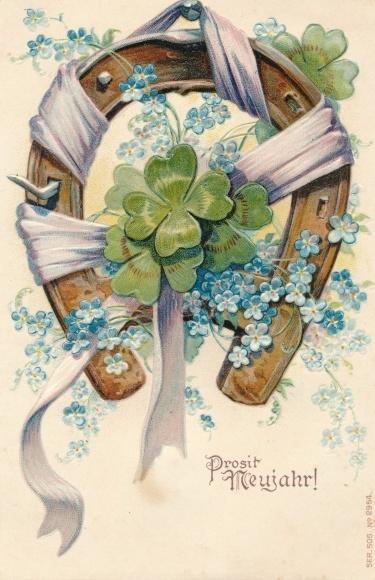 Präge Litho Glückwunsch Neujahr, Hufeisen, Kleeblätter, Vergissmeinnichtblüten
