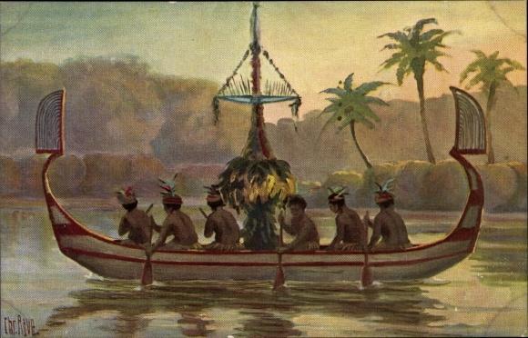 Künstler Ak Rave, Chr., Marine Galerie 89, Boot, Duck Duck, Bismarck Archipel, Jetztzeit