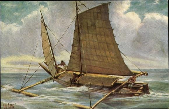 Künstler Ak Rave, Chr., Marine Galerie 165, Boot mit Ausleger, Philippinen, Jetztzeit