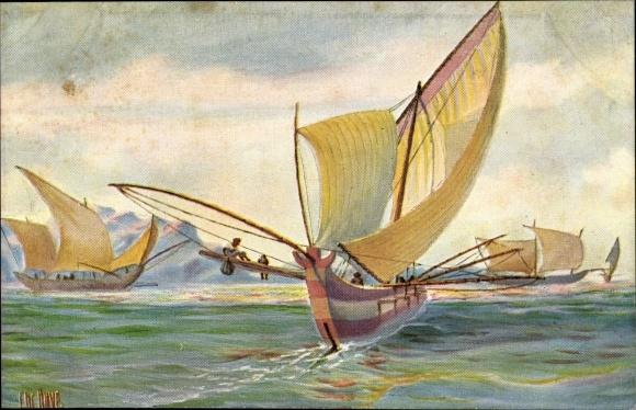 Künstler Ak Rave, Chr., Marine Galerie 209, Segelboot mit Ausleger, Cochinchina, Vietnam, Jetztzeit